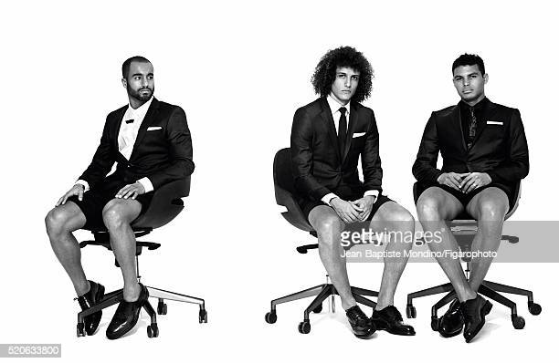 Soccer players Lucas Moura David Luiz and Thiago Silva are photographed for Madame Figaro on February 24 2016 in Paris France Moura Jacket shirt...