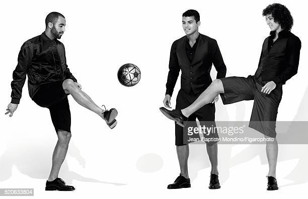 Soccer players Lucas Moura Thiago Silva and David Luiz are photographed for Madame Figaro on February 24 2016 in Paris France Moura Shirt and shorts...