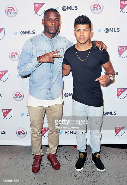 Soccer players Maurice Edo and DeAndre Yedlin attend The MLS Next FIFA 15 Launch Party at Skylight Modern on September 18 2014 in New York City