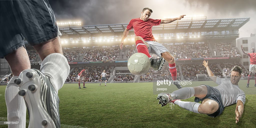Soccer Players Mid Air Action : Stock Photo