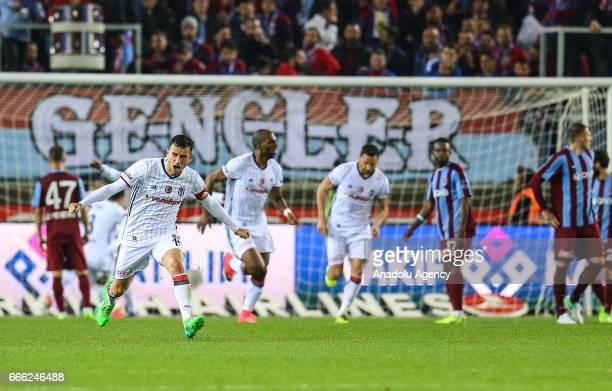 Soccer players of Besiktas celebrate their victory after Turkish Spor Toto Super Lig match between Trabzonspor and Besiktas at Medical Park Arena in...