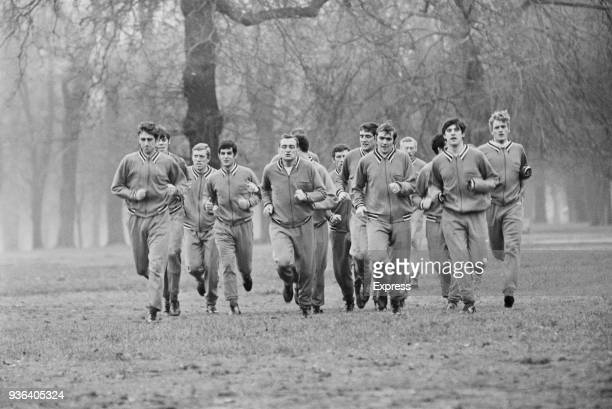Soccer players of Leeds United FC during training at Kensington Gardens London UK 30th November 1968