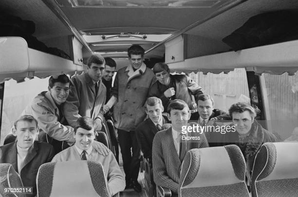 Soccer players of Swindon Town FC on a coach UK 16th February 1967