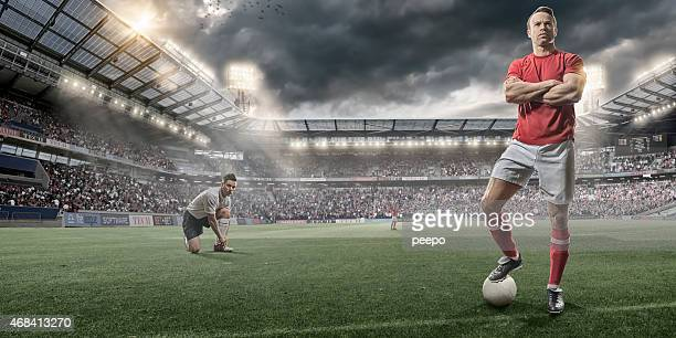 soccer players on pitch before game - football player stock pictures, royalty-free photos & images