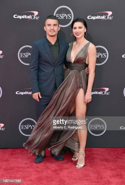 Soccer players Servando Carrasco and wfie Alex Morgan attend The 2018 ESPYS at Microsoft Theater on July 18 2018 in Los Angeles California
