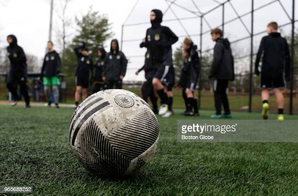 Soccer players warm up before the start of their game in Medway Mass on April 29 2018