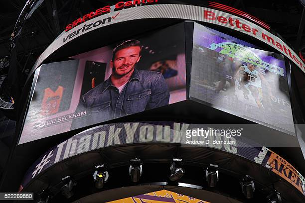 Soccer playr David Beckham appears on the jumbotron during the Los Angeles Lakers game against the Utah Jazz at STAPLES Center on April 13 2016 in...