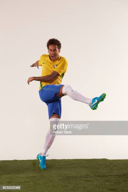 Portrait of FC Barcelona and Brazil National Team forward Neymar in action during photo shoot at MILK Studios Los Angeles CA CREDIT Robert Beck