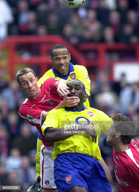 FA Soccer Premiership season 20032004 Charlton Athletic vs Arsenal Hermann Hreidarsson Chris Perry Sol Campbell and Thierry Henry Football...