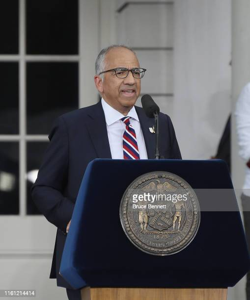 S Soccer President Carlos Cordeiro speaks as the United States Women's National Soccer Team are honored at a ceremony at City Hall on July 10 2019 in...