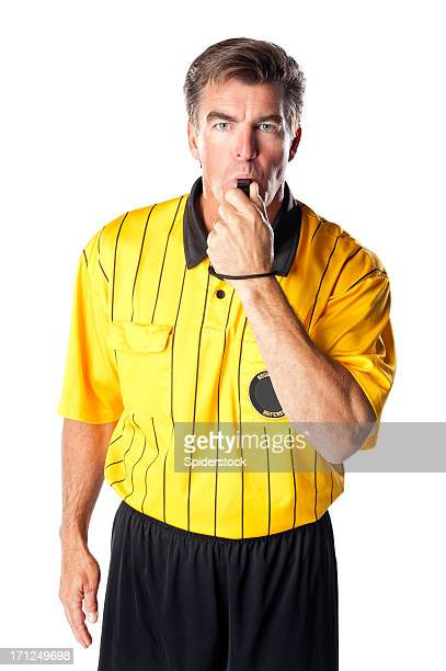 Soccer Referee Giving Blowing Whistle