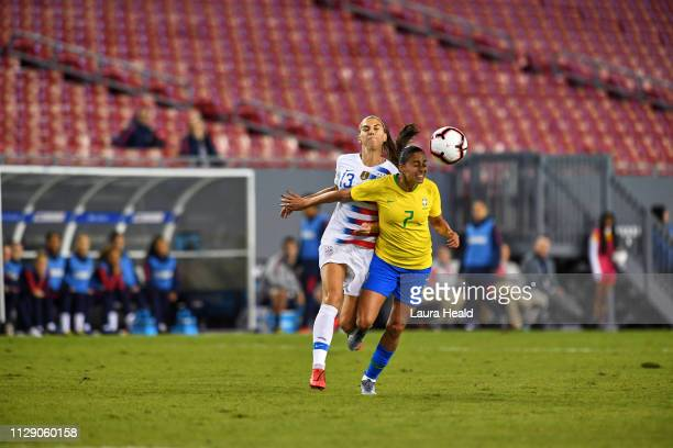 SheBelieves Cup Brazil Leticia Santos in action vs USA Alex Morgan during Group Stage match at Raymond James Stadium USA wins 10 Sequence Tampa FL...