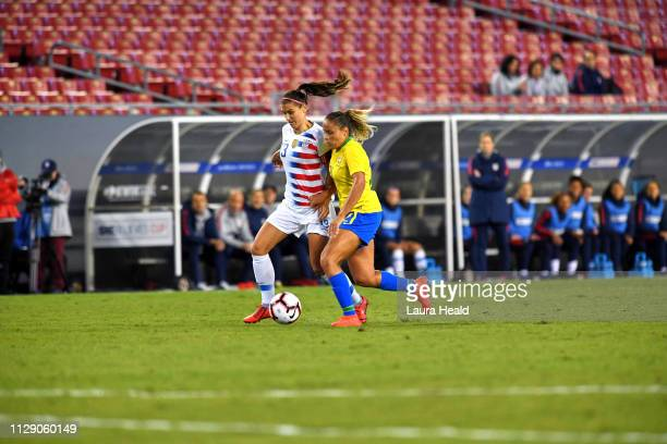 SheBelieves Cup Brazil Monica in action vs USA Alex Morgan during Group Stage match at Raymond James Stadium USA wins 10 Tampa FL CREDIT Laura Heald