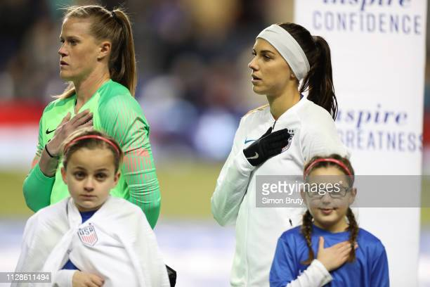 SheBelieves Cup USA Alyssa Naeher with Alex Morgan during anthem before game vs Japan during Group Stage match at Talen Energy Stadium Chester PA...