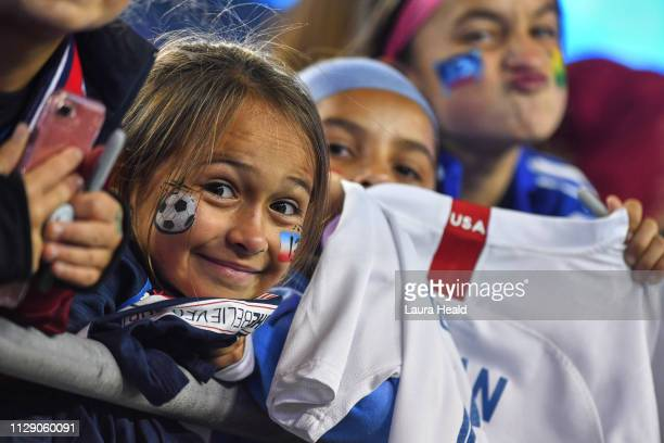 SheBelieves Cup USA fans with face paint before Group Stage match between USA vs Brazil at Raymond James Stadium USA wins 10 Tampa FL CREDIT Laura...