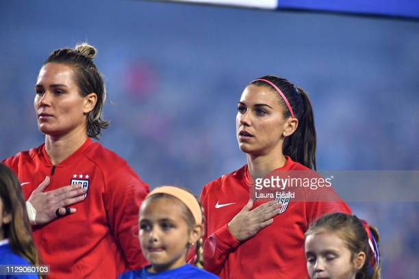SheBelieves Cup USA goalie Ashlyn Harris and Alex Morgan during national anthem vs Brazil before Group Stage match at Raymond James Stadium USA wins...