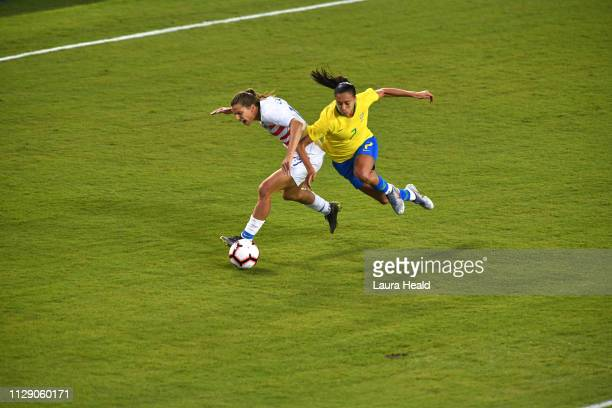 SheBelieves Cup USA Tobin Heath in action vs Brazil Leticia Santos during Group Stage match at Raymond James Stadium USA wins 10 Tampa FL CREDIT...