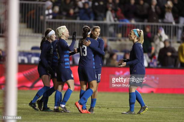 SheBelieves Cup USA Tobin Heath victorious hugging Alex Morgan during game vs Japan during Group Stage match at Talen Energy Stadium Chester PA...