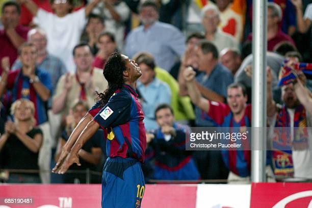 Soccer Spanish Championship Season 2003 2004 FC Barcelona vs FC Sevilla Ronaldinho delight after scoring his first goal Football championnat d...
