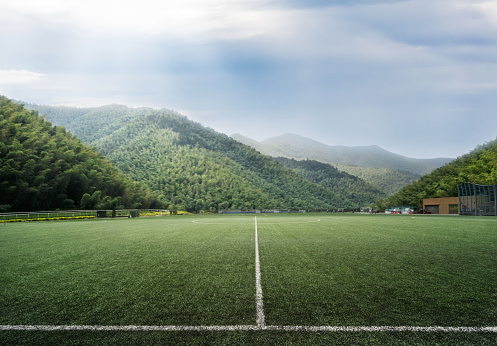 Soccer stadium in the natural environment.China - East Asia, - gettyimageskorea