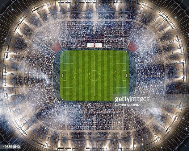 soccer stadium upper view - stadion stockfoto's en -beelden