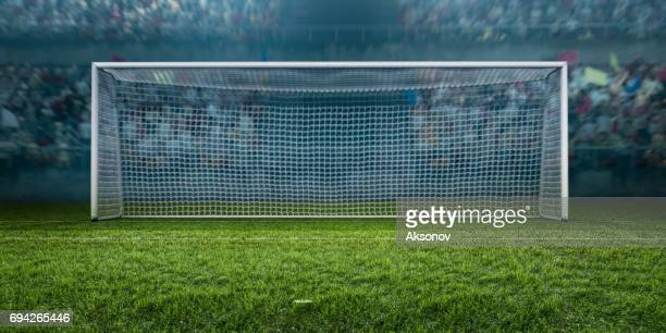 soccer stadium with football gate - scoring a goal stock pictures, royalty-free photos & images
