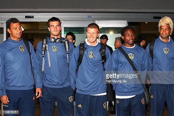 Soccer star David Beckham arrives with his LA Galaxy team including Manager Ruud Gullit and Abel Xavier at Incheon Airport on February 26 2008 in...