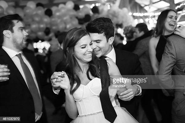 US Soccer stars Alex Morgan and Servando Carrasco celebrate at their wedding reception at Rancho Dos Pueblos on December 31 2014 in Santa Barbara...