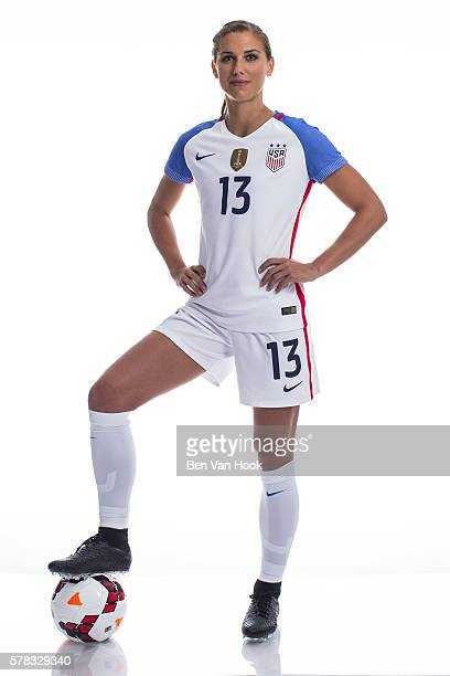 Summer Games Preview Portrait of Team USA Alex Morgan posing during photo shoot at Sheraton Hotel Orlando FL CREDIT Ben Van Hook