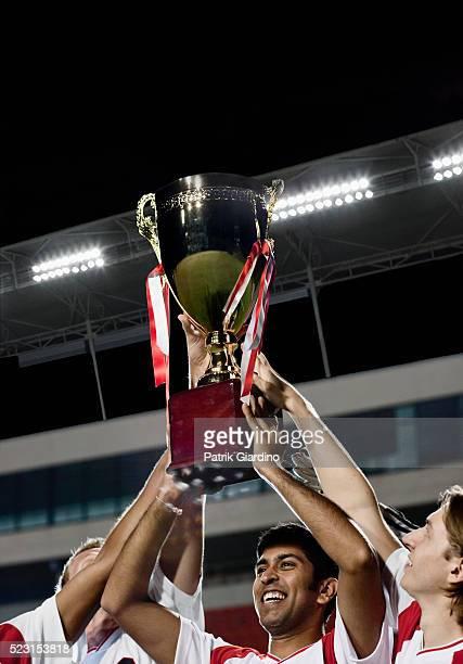 Soccer team celebrating a victory