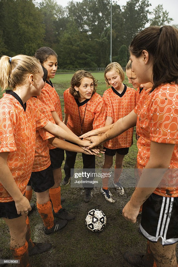 Soccer team huddle : Stock Photo