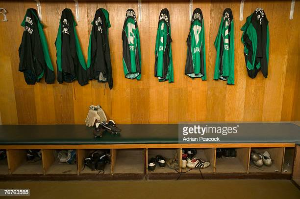 soccer team locker room - sports jersey stock pictures, royalty-free photos & images