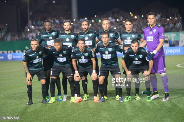 Soccer team MO Bejaia poses for photographers before their game against FUS Rabat in the first leg of the 2016 Caf Confederation Cup semifinal at the...