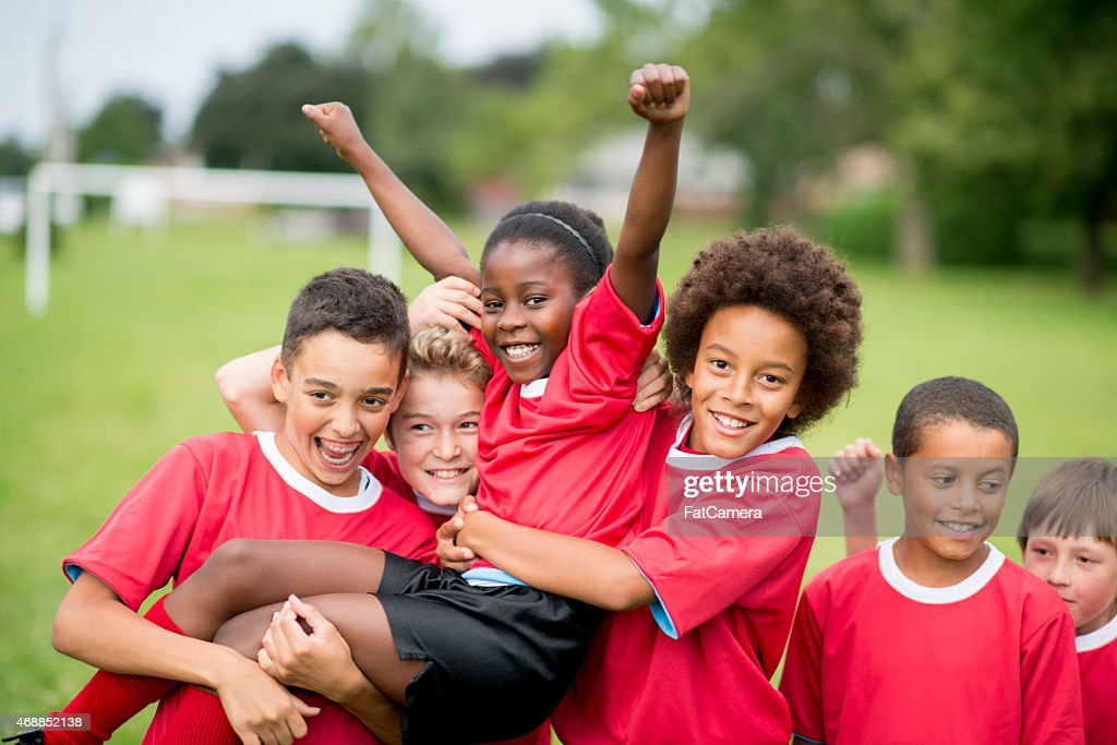 Soccer Team Victory : Stock Photo