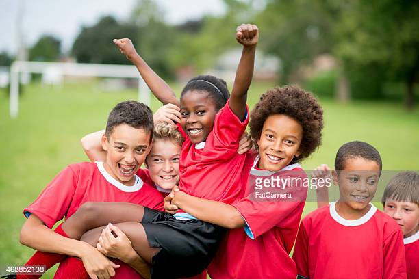 soccer team victory - sports team stock pictures, royalty-free photos & images