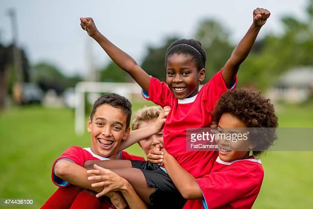 Soccer Teammates Cheering