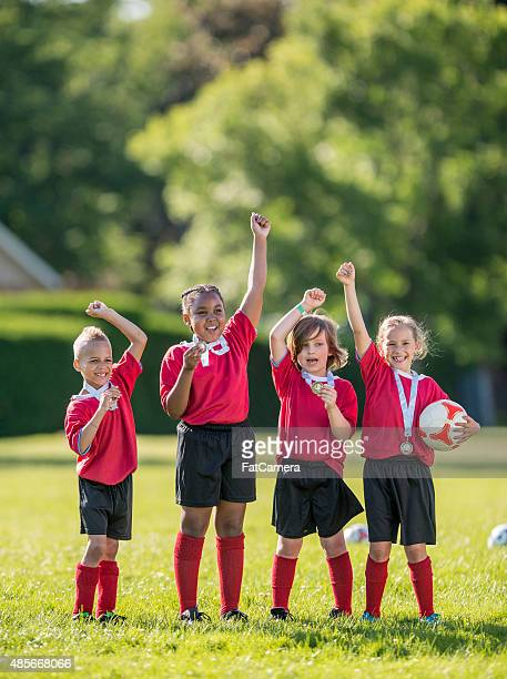Soccer Teammates Cheering Victoriously