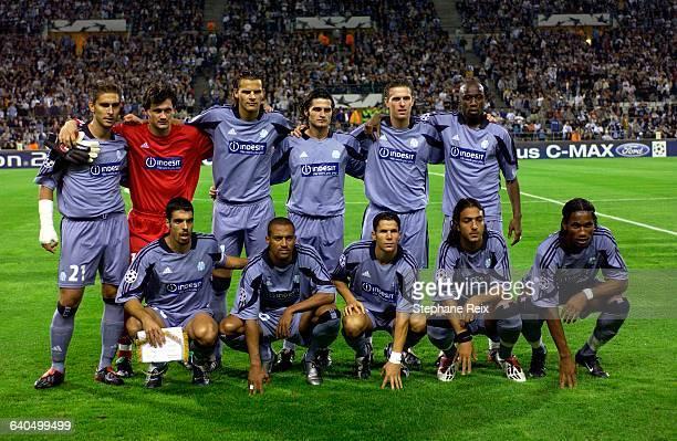 Soccer UEFA Champions League, season 2003-2004. Marseilles' Olympic vs FK Partizan. Line up of Marseilles' Olympic team. Football, Ligue des...