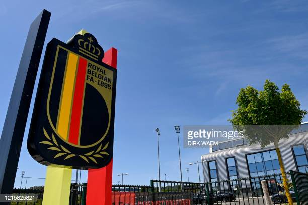 Soccer union logo pictured at a meeting of the board of the KBVB-URBSFA Belgian soccer union, Thursday 28 May 2020 at the National Soccer center in...
