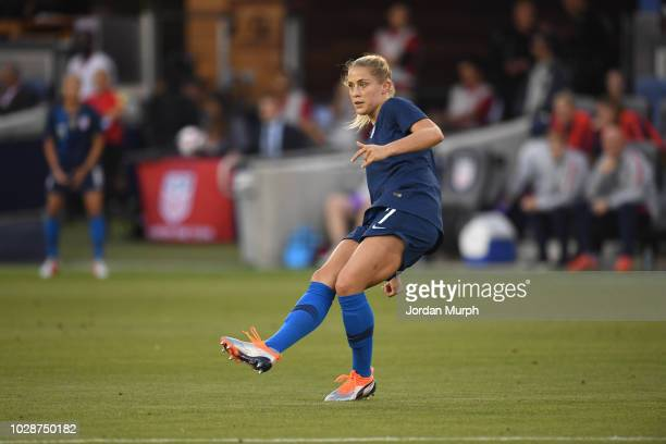 USA Abby Dahlkemper in action vs Chile during Women's International Friendly at Avaya Stadium San Jose CA CREDIT Jordan Murph