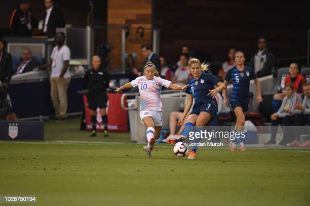 USA Abby Dahlkemper in action vs Chile Yanara Aedo during Women's International Friendly at Avaya Stadium San Jose CA CREDIT Jordan Murph