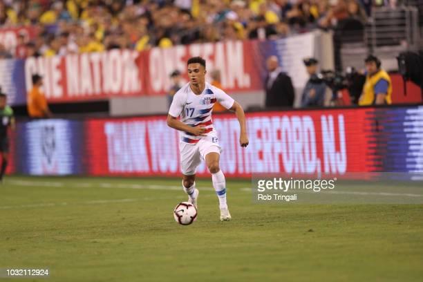 USA Antonee Robinson in action vs Brazil during Men's International Friendly at MetLife Stadium East Rutherford NJ CREDIT Rob Tringali