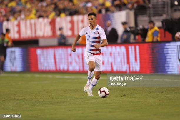 USA Antonee Robinson in action vs Brazil during Men's International Friendly at MetLife Stadium East Rutherford NJ CREDIT Rob Tringali