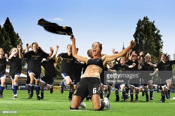 Where Are They Now Portrait of FC Gold Pride Brandi Chastain with youth campers at Buck Shaw Stadium on Santa Clara University campus Santa Clara CA...