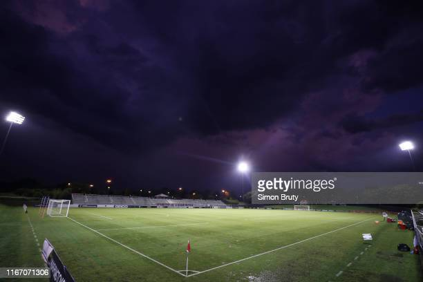 Wide overall view of field and sky before game between Utah Royals FC and Washington Spirit at Maureen Hendricks Field at Maryland SoccerPlex...