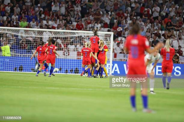 Women's World Cup USA goalkeeper Alyssa Naeher victorious with temmates after making save during Semifinal game vs England at Parc Olympique Lyonnais...