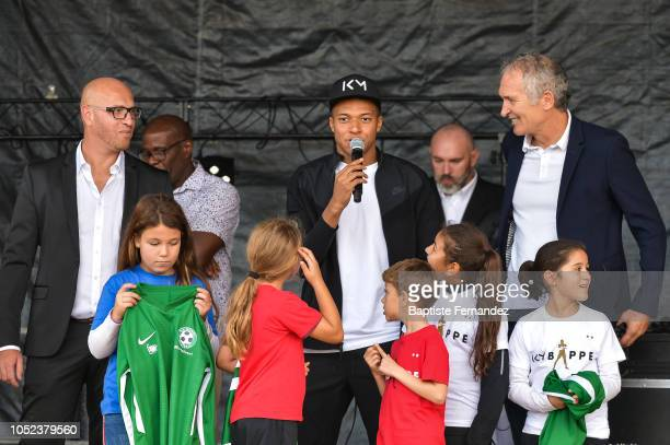 Soccer World Champion Kylian Mbappe returns to his hometown Bondy to celebrate the UEFA World Cup title at Leo Lagrange stadium where he began to...