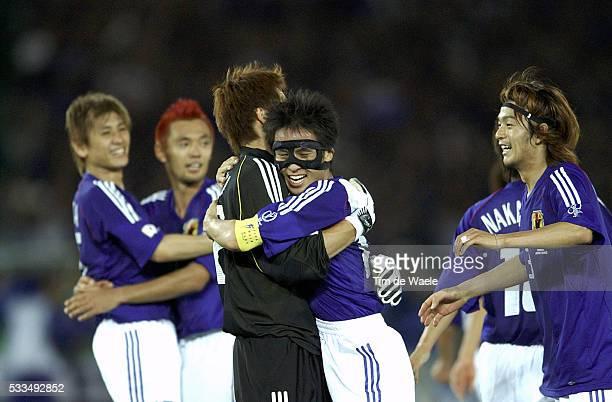 Japan Russia Japanese players celebrate victory Kazuyuki Toda Seigo Narazaki Tsuneyasu Miyamoto Atsushi Yanagisawa