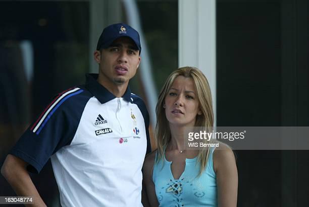 Team France And Their Companion At The Sheraton In Seoul Coupe du monde de football 2002 en Corée du Sud David Trézéguet et son épouse Béatrice...