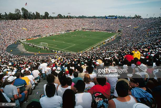 Soccer World Cup Aerial of Rose Bowl stadium with fans during USA vs MEX game Pasadena CA 6/4/1994